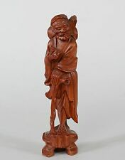 Chinese Carved Boxwood Figure God of Longevity Shou Old Man with Peach & Staff