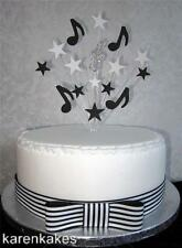 MUSICAL NOTES CAKE TOPPER WITH DIAMANTE TREBLE CLEF SUITABLE FOR A 20cm CAKE