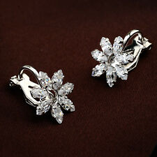 18K WHITE GOLD PLATED GENUINE AUSTRIAN CRYSTAL FLOWER CLIP-ON  EARRINGS