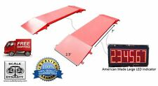 60,000 x 10 LB PORTABLE TRUCK AXLE SCALE WITH REMOTE DISPLAY INDICATOR USA MADE