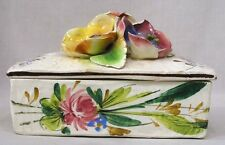Vintage Capo di Monte Italy Covered Trinket Box HP Flwrs Applied Flwrs