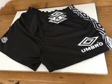 "Vintage Euro '96 Umbro football shorts 34"" M Black Rare OG England Rio Training"