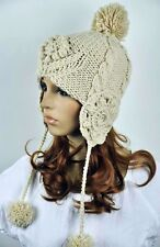 All Hand Knit Wool Lady Winter Ski Hat Cap Vintage Floral String Balls Beige