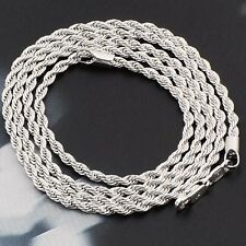 Handsome 18K White Gold Filled For Womens Men's Rope Chain Necklace,24 Inch