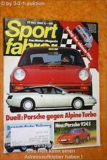 Sportfahrer 11/85 Alpine Turbo Porsche 911 924 S DB 190