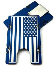 Large American Flag,Billet Vault Aluminum Wallet, RFID protection, Blue anodized