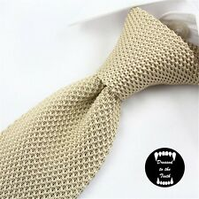 Champagne Knitted Tie Slim Skinny Formalwear Suit Wedding Party Prom UK Seller