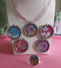 NEW My Little Pony 5 Piece Interchangeable Necklace Set with Ring Jewelry