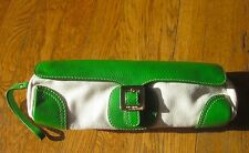 Kate Spade AVA BUCKLE CLUTCH cream canvas pebbled kelly green leather barrel bag
