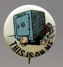 1910 Bud Fisher Mutt & Jeff THIS IS ON ME Hassan Cigarette pinback button *