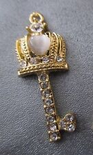 Crown Key Gold Color w/ Rhinestone & White Cat's Eye Charm Pendant 1 pc