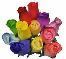 2 Dozen (24) Wooden Roses Colorful Arrangement in Sleeve by Forever Wood Roses