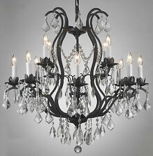 12 LIGHT CRYSTAL WROUGHT IRON CHANDELIER DINING OR LIVING ROOM KITCHEN OR FOYER
