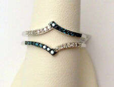 Prong Set Solitaire Enhancer Blue and White Diamonds Ring Guard Wrap White Gold