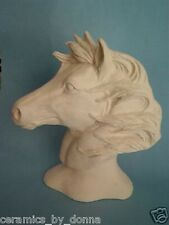 HORSE Head BUST READY TO PAINT CERAMIC BISQUE Stallion mustang hand made nowell
