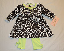 NEW Baby Girl Giraffe Print Outfit Size 6-9M Long Sleeve Shirt Pants Shower Gift