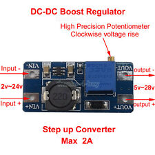 DC-DC Boost Regulator 2-24V to 5V-28V 9v 12V 24V 2A Step Up Power Supply Module