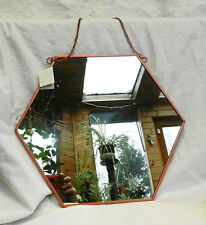 Copper Framed Hexagonal Shape Wall Mirror - Large - Art Deco Style - BNWT