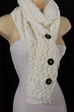 Women Long White Necklace Soft Scarf Fashion Winter Knit Soft Fabric 3 Buttons