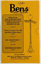 1983 Vintage FRENCH Brochure BEN'S RESTAURANT Charcuterie Montreal Canada Quebec