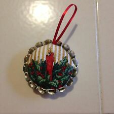 COMPLETED CROSS STITCH CHRISTMAS ORNAMENT PIE TART TIN ORNAMENT HANDMADE NEW