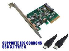 PCIE USB 3.1  - 10 GB - 2 ports sur equerre arrière - TYPE C - Chipset ASM1142