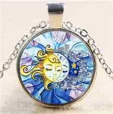 Cute Sun and Moon Cabochon Glass Tibet Silver Chain Pendant  Necklace