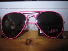 BETSEY JOHNSON BETSEYVILLE PINK WIRE FRAME AVIATOR 100% UV PROTECTION SUNGLASSES