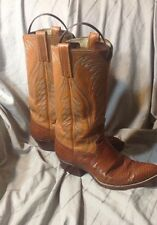 Vintage Tall Dan Post Lizard Cowboy Boot Mens size 8.5 D Brown Leather