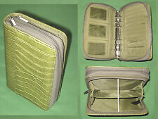 "COMPACT ~ 1.0"" Green S LEATHER REPTILE Buxton Planner CLUTCH Franklin Covey 9174"