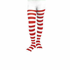 Girls / Ladies Wally Christmas Striped Stripe Elf Xmas Tights (Red / White)