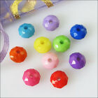 50Pcs Mixed Acrylic Plastic DIY Round Flat Facted Spacer Beads Charms 10mm