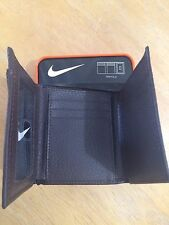 NIKE MENS GOLF GENUINE BROWN PEBBLE GRAIN LEATHER TRIFOLD WALLET NEW IN BOX