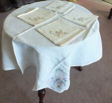 Collectible Embroidered Tablecloth and 4 Napkins 32 Inch Flower Basket NICE