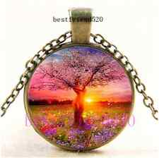 Vintage Goddess Tree Of Life Cabochon Glass Dome Bronze Pendant Necklace