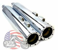 "4.5"" 4-1/2"" Revolver Chrome Slip-on Mufflers Set Exhaust Pipes Harley Touring"