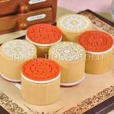 6 Pcs Assorted Wooden Rubber Stamp Round Shape Handwriting Floral Flower Craft