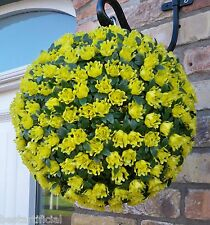 2 Best Artificial 28cm Yellow Rose Topiary Hanging Flower Balls Grass Plant New