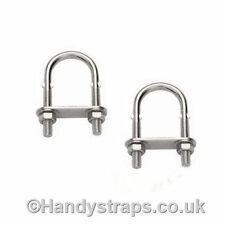 2 x 3mm x 80mm U BOLT & PLATE Stainless Steel Marine Grade for 20mm pipe