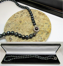 New black real freshwater pearl necklace with designer clasp in gift box