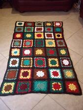 Vintage Granny Square Afghan 70 x 40 Crochet Throw Blanket Hand Made Retro