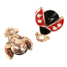 20x New Gold Plated Red&Black Enamel Ladybird Charms Alloy Pendant Accessories D