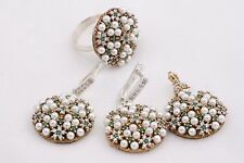 Turkish Handmade 925 Sterling Silver Pearl Emerald Topaz Sets Ring Size 8