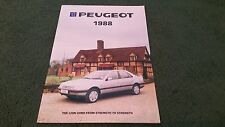 March 1988 PEUGEOT CAR RANGE 24pg UK BROCHURE 205 GTi 305 ESTATE 309 405 505 V6