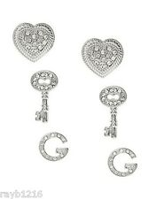 NWT Guess Silver Metal & Clear Rhinestones Keys-Heart Letter G Earrings, 3 Pairs