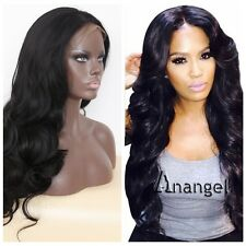 Ladies  Lace Front Wig Long Body Wave Hair Wavy Glueless Black Synthetic Wigs