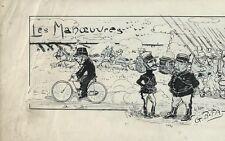 """GUS BOFA MAGNIFIQUE DESSIN ORIGINAL SIGNÉ """" LES MANOEUVRES """"  DE 1922, ENCADRÉ"""