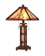 "CH33429WM15-DT3 Mission Tiffany Style Stained Glass 3-Light Table Lamp 15"" Shade"