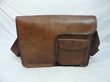 "16x12"" Real Brown Leather Padded Messenger Bag Laptop Macbook Satchel Cross Body"