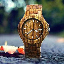 Fashion Zebra Wood Casing Men's Quartz Wristwatch Wood Band with Day function